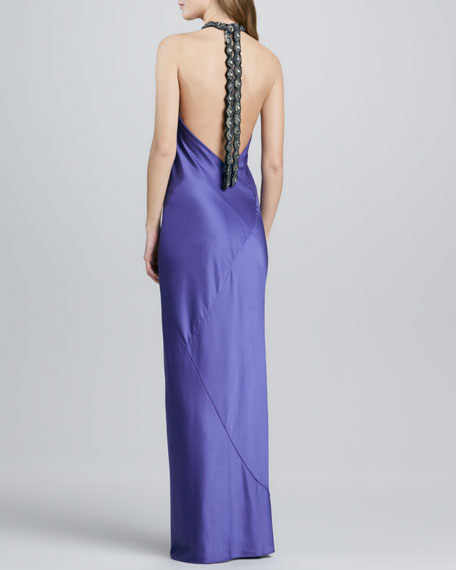 Beaded-Neck Halter Gown