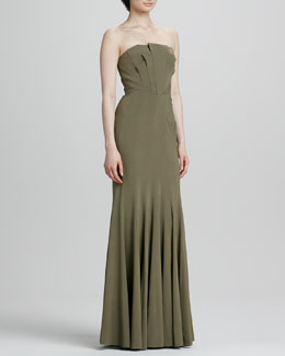 ZAC Zac Posen Strapless Seamed Gown