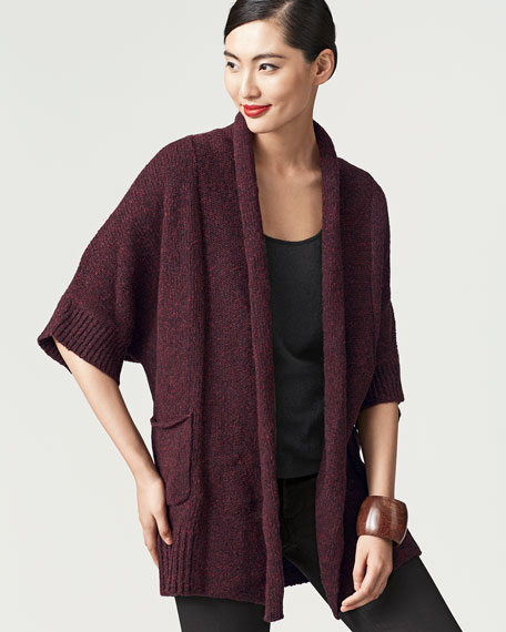 Long Cashmere Half-Sleeve Cardigan