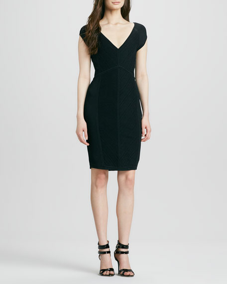 Cressida V-Neck Cap-Sleeve Dress