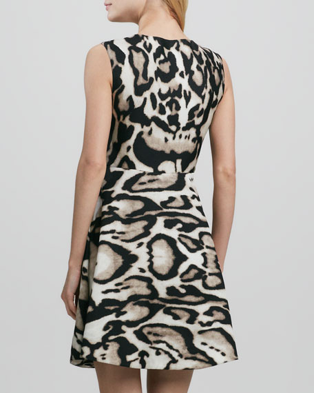 Renna Leopard-Print Flared Dress