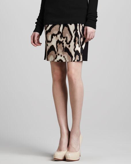 Mae Mikado Leopard-Print Skirt