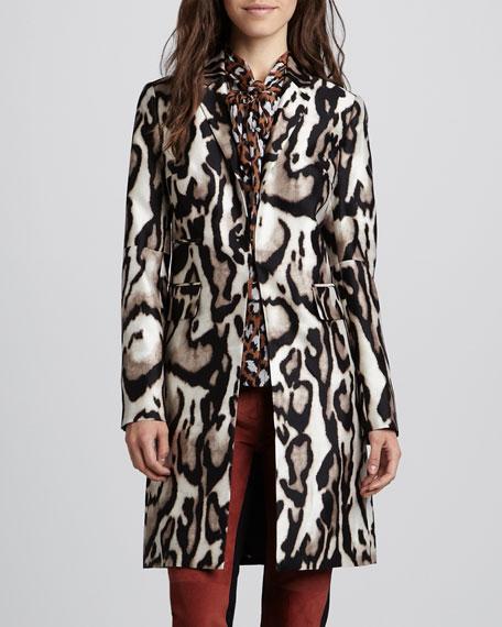 Mahala Leopard Silk-Wool Coat