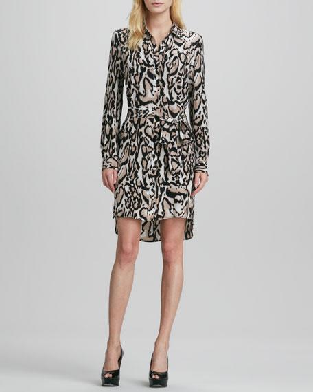 Prita Tie-Waist Leopard-Print Shirtdress
