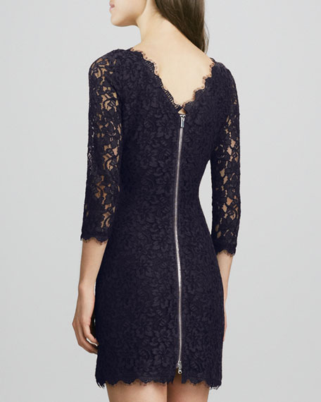 Zarita Scoop-Neck Short Lace Dress