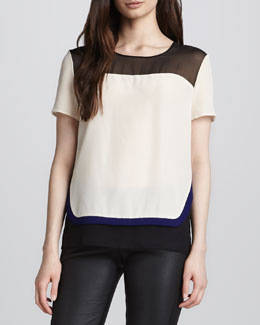 Diane von Furstenberg Becky Layered Short-Sleeve Blouse
