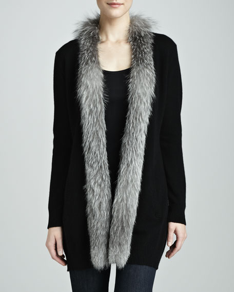 Fur-Trim Cashmere Drape Cardigan