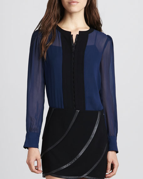 Etta Long-Sleeve Chiffon Colorblock Blouse