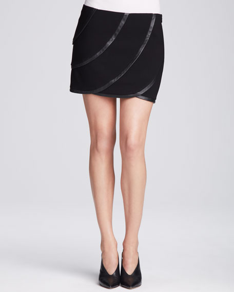 Karina Leather Panel Skirt