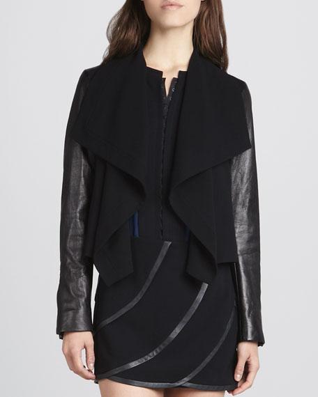 Olympia Drape-Front Leather-Sleeve Jacket
