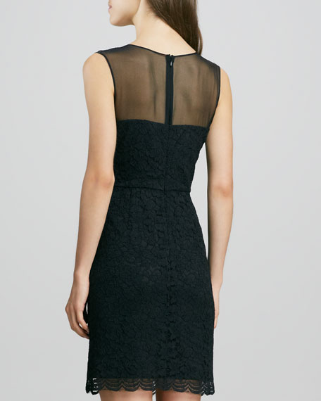Nisha Sleeveless Illusion-Neck Lace Dress