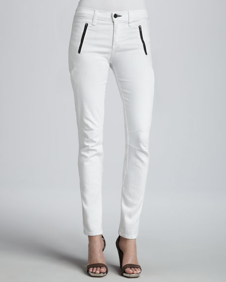 Rally White Front-Zip Skinny Jeans