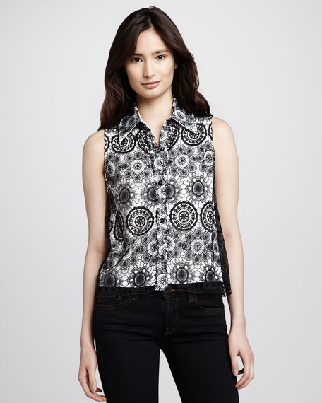 Lace-Overlay Sleeveless Blouse