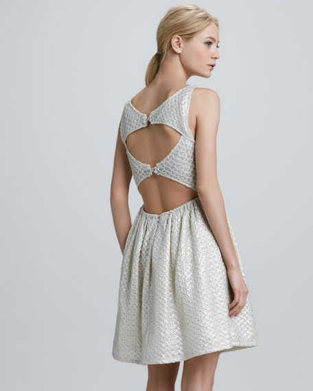 Jacquard Cutout-Back Dress