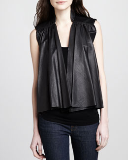 Alice + Olivia Adria Pleated Leather Vest