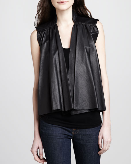 Adria Pleated Leather Vest