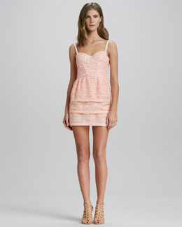 Alice + Olivia Shellyanne Tiered Tweed Dress
