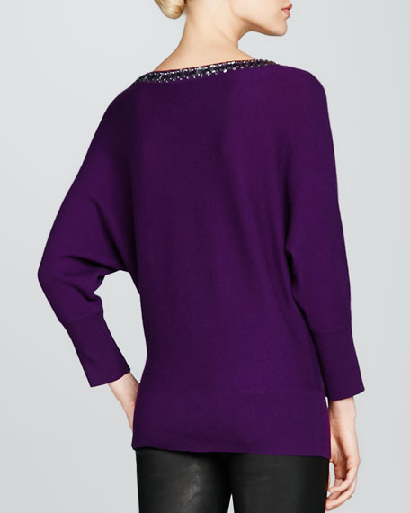 Beaded-Neck Cashmere Sweater