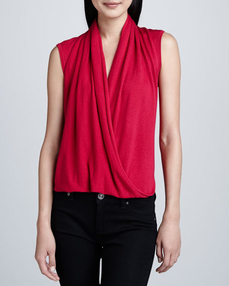 Sleeveless Faux-Wrap Top, Rose
