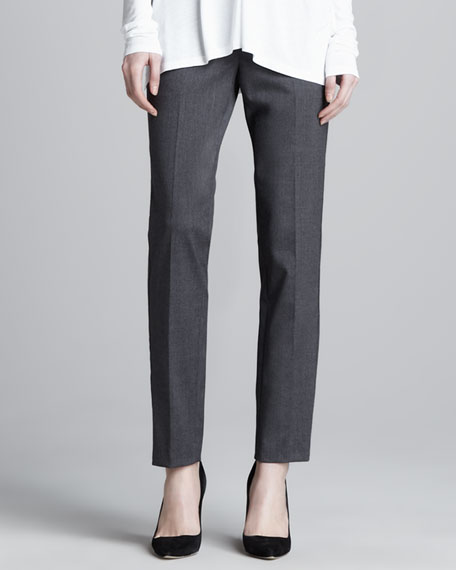 Relaxed Stretch-Wool Trousers, Dark Heather Gray