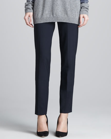 Relaxed Stretch-Wool Trousers, Coastal