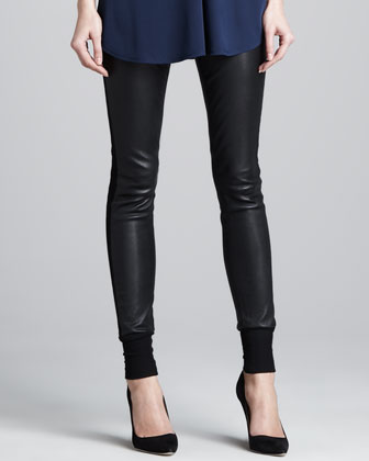 Knit-Cuff Leather Pants