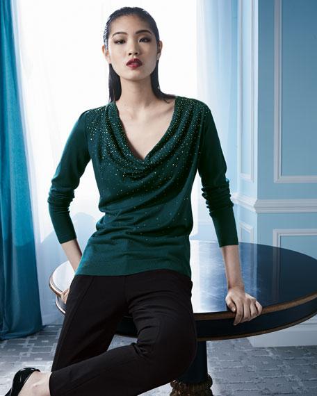 Beaded Cowl-Neck Sweater