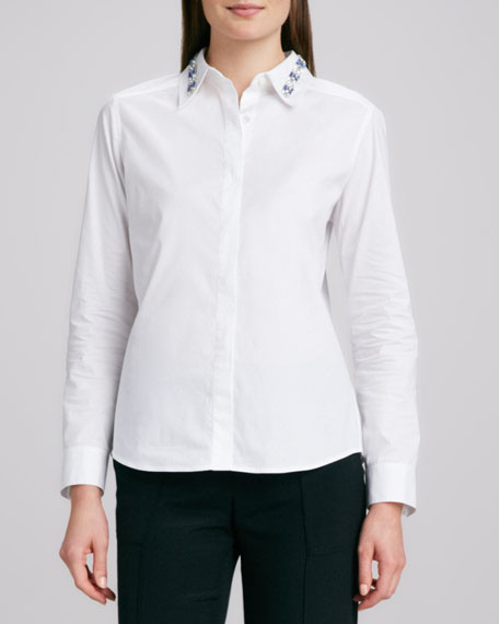 Embellished-Collar Poplin Shirt