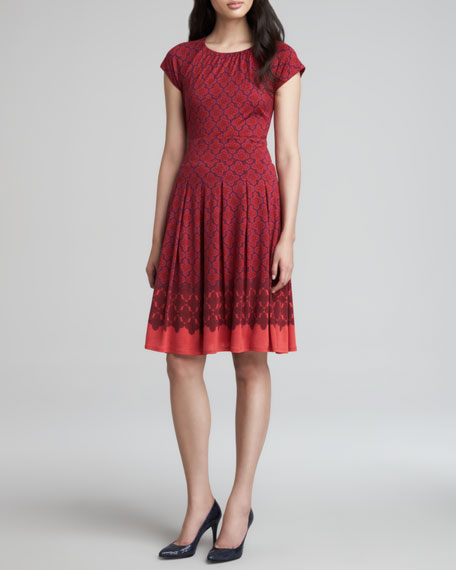 Sophia Cap-Sleeve Silk Dress, Red Wine