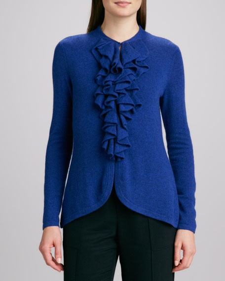 Cashmere Ruffle-Front Cardigan