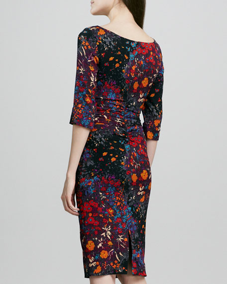 Ruched Floral-Print Half-Sleeve Dress