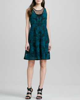 Yoana Baraschi Blue Embroidered Lace Cocktail Dress