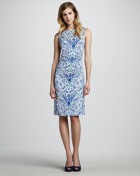 Floral-Print Sleeveless Jersey Dress, Blue Print