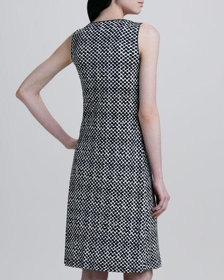 Embellished-Neck Dotted Dress