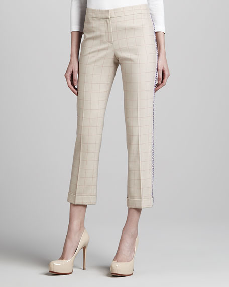 Side-Embroidered Plaid Pants