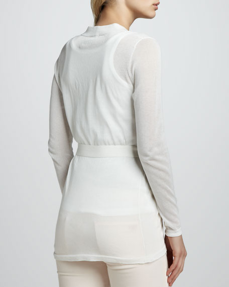 Self-Tie Lightweight Cardigan, White
