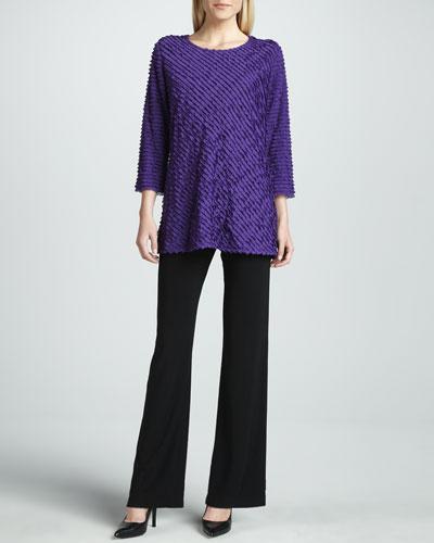Caroline Rose Knit Straight-Leg Pants, Petite