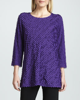 Caroline Rose Bias-Ruffled Knit Tunic, Petite