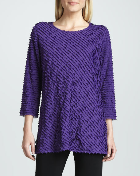 Bias-Ruffled Knit Tunic, Petite