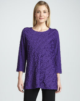 Caroline Rose Bias-Ruffled Knit Tunic, Women's