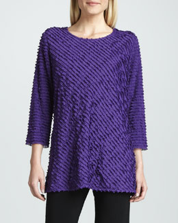 Caroline Rose Bias-Ruffled Knit Tunic