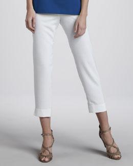 Caroline Rose Shantung Slim Capri Pants