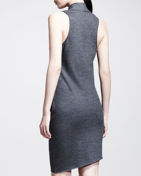 Sonar Draped Sleeveless Wool Dress