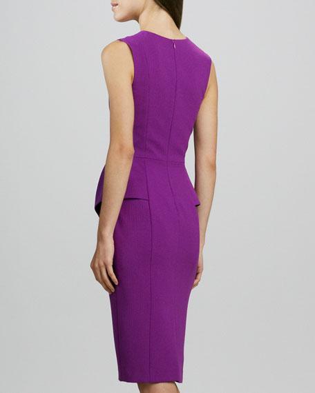 Sashi Split-Neck Peplum Dress