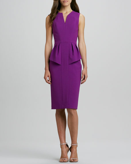 Sashi Split-Neck Peplum Dress
