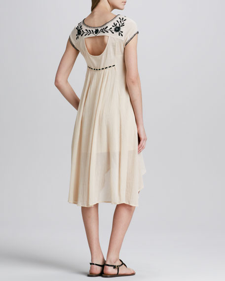 Marina Embroidered High-Low Dress