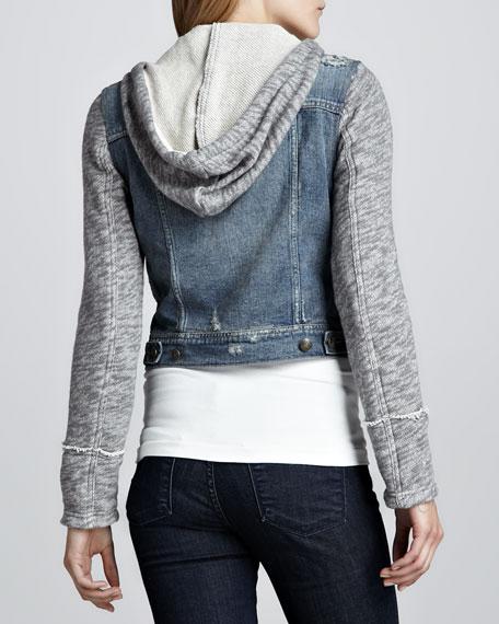 Denim and Knit Hoodie Jacket