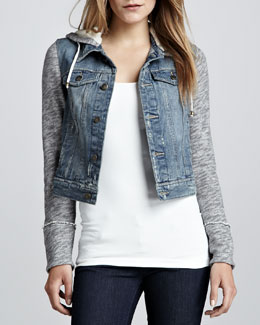 Free People Denim and Knit Hoodie Jacket