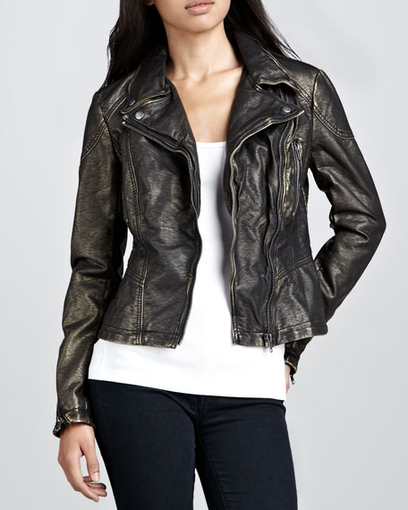Metallic Vegan-Leather Motorcycle Jacket