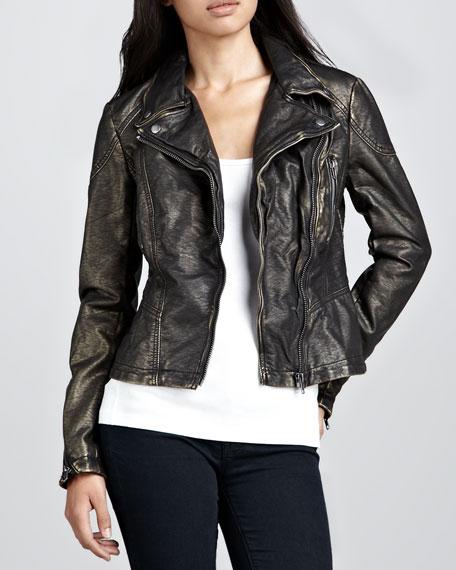 Metallic Vegan-Leather Motorcycle Jacket
